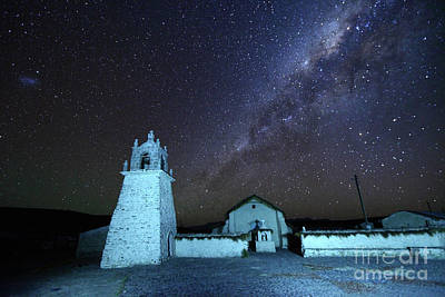 Astro Photograph - Guallatiri Village Church Under The Milky Way Chile by James Brunker