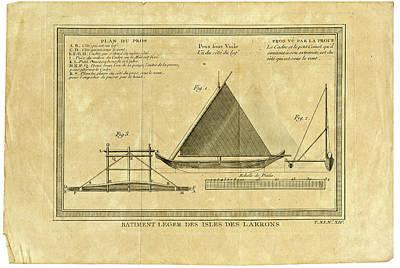 Drawing - Guam Proa  Batiment Leger Des Isles Des Larron by Ex Anson