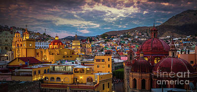 Rooftop Photograph - Guanajuato Evening Panorama by Inge Johnsson