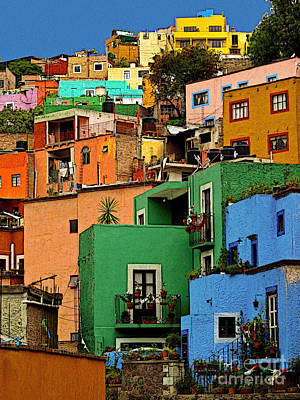 Guanajuato Hillside 2 Art Print by Mexicolors Art Photography