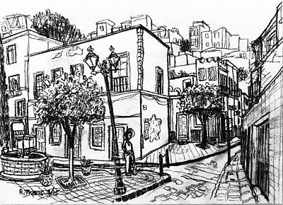 Wall Art - Drawing - Guanajuato Street by Rich Travis