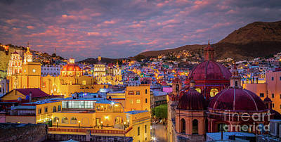 Guanajuato Photograph - Guanajuato Twilight Panorama by Inge Johnsson