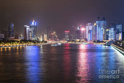 Photograph - Guangzhou Cityscape At Night With The Pearl River In China by Didier Marti