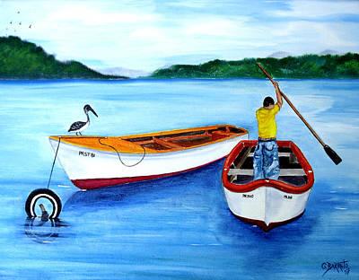 Guanica Fisherman Print by Gloria E Barreto-Rodriguez