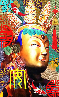 Hindu Goddess Mixed Media - Guanyin by Stacey Chiew