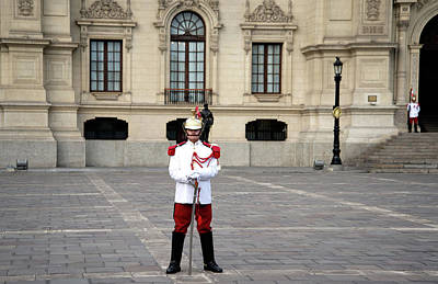 Digital Art - Guard At Parliament Building In Lima by Carol Ailles