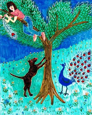 Guard Dog And Guard Peacock  Art Print by Sushila Burgess