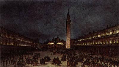 Procession Digital Art - Guardi Francesco Nighttime Procession In Piazza San Marco by Francesco Guardi