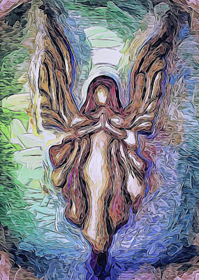 Painting - Guardian Angel - 2 by OLena Art Brand