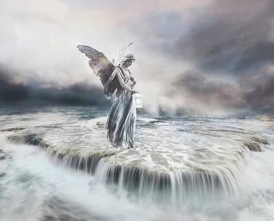 Surrealism Mixed Media - Guardian Angel by Jacky Gerritsen
