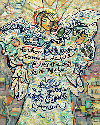 Baby Shower Painting - Guardian Angel by Jen Norton