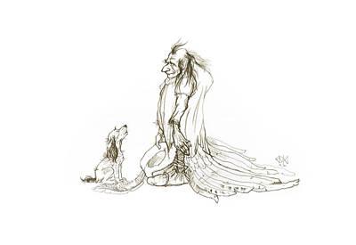 Crying Drawing - Guardian Angel by Marina Kapilova