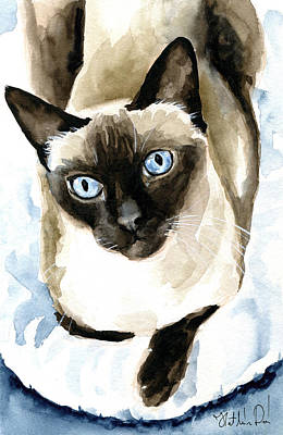 Painting - Guardian Angel - Siamese Cat Portrait by Dora Hathazi Mendes