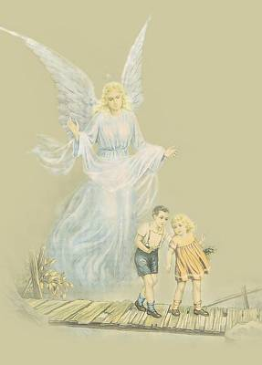 Guardian Angel Watching Over Kids Art Print by Ronel Broderick