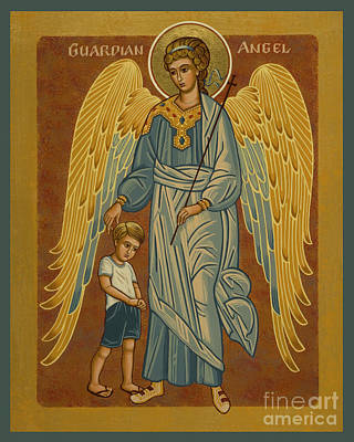 Painting - Guardian Angel With Boy - Jcgwb by Joan Cole