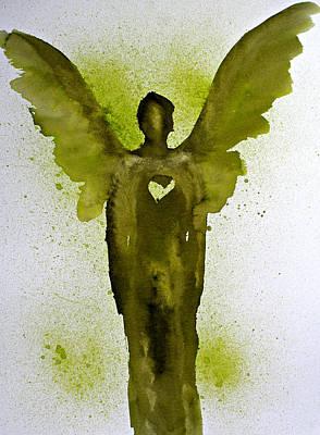 Painting - Guardian Angels Golden Heart by Alma Yamazaki