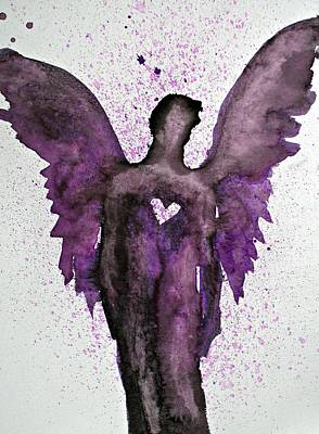 Painting - Guardian Angels Purple by Alma Yamazaki