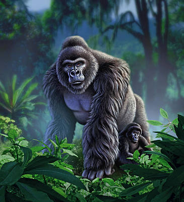 Gorillas Painting - Guardian by Jerry LoFaro