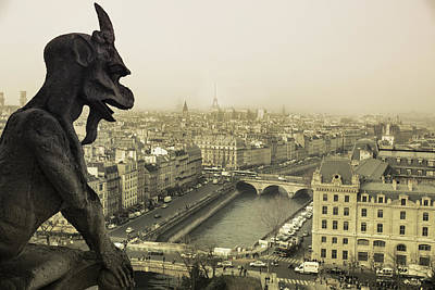 Notre Dame Photograph - Guardian Looking Down by Andrew Soundarajan