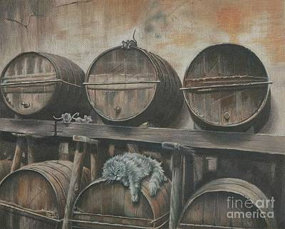 Wine Cellar Mixed Media - Guardian Of The Wine Cellar by Carol Bonick