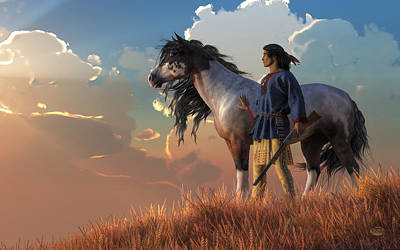 Paint Horse Digital Art - Guardians Of The Plains by Daniel Eskridge