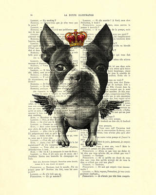 Terrier Digital Art - Boston Terrier With Wings And Red Crown Vintage Illustration Collage by Madame Memento
