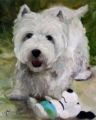 Puppies Painting - Guarding Snoopy by Mary Sparrow