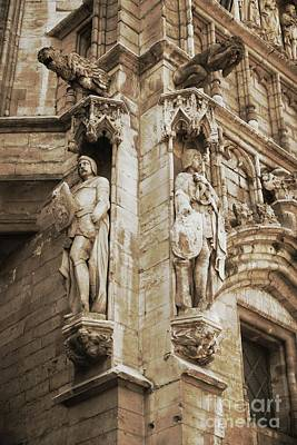 The Grand Place Photograph - Guarding The Grand Place In Sepia by Carol Groenen