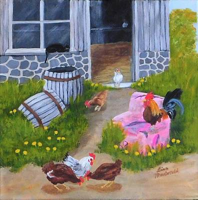 Wall Art - Painting - Guarding The Hen House by Lisa MacDonald