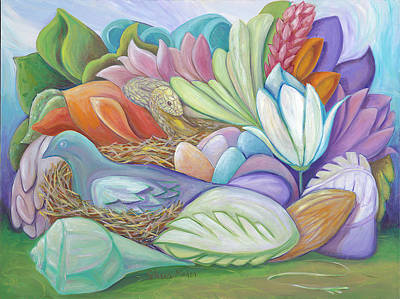 Mystical Landscape Painting - Guarding The Nest by Shera Maher