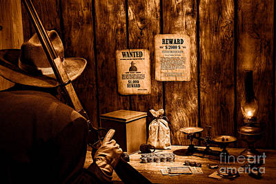Cowboy Hat Photograph - Guarding The Payroll - Sepia by Olivier Le Queinec
