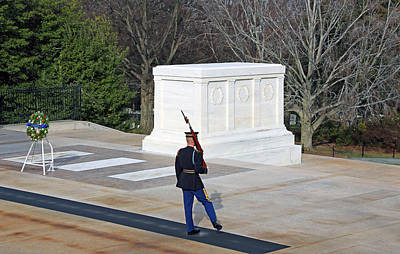Photograph - Guarding The Tomb Of The Unknown Soldiers With A Kick As He Turns by Cora Wandel