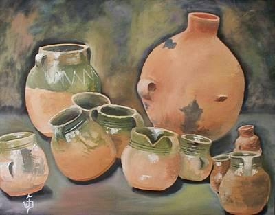 Painting - Guatemala Ceramic Pots  by Jose Velasquez