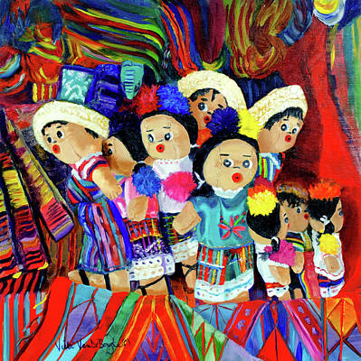 Painting - Guatemalan Dolls by Vicki VanDeBerghe