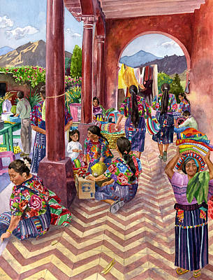 Marketplace Painting - Guatemalan Marketplace by Anne Gifford