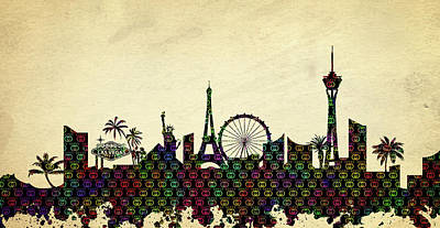 Abstract Skyline Digital Art Rights Managed Images - Gucci Vegas Skyline Royalty-Free Image by Ricky Barnard
