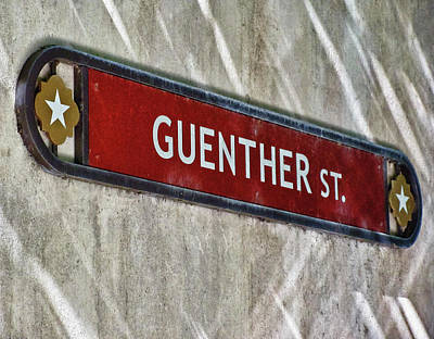 Photograph - Guenther Street Sign by Tony Grider