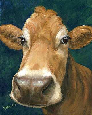 Guernsey Cow On Teal Print by Dottie Dracos