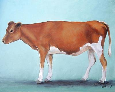 Cow Wall Art - Painting - Guernsey Cow Standing Light Teal Background by Dottie Dracos