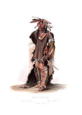 Old Painting - Guerrier Du Dakota - Dakota Warrior Wall Art Prints by Karl Bodmer