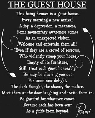 Guest House Poem Rumi Art Print by Dan Sproul