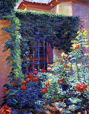 Beverly Hills Painting - Guesthouse Rose Garden by David Lloyd Glover