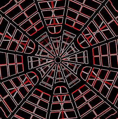 Photograph - Guggenheim Dome Neon Red by Karen J Shine