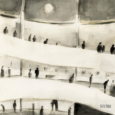 Contemporary Watercolor Painting - Guggenheim Inside by Beverly Brown