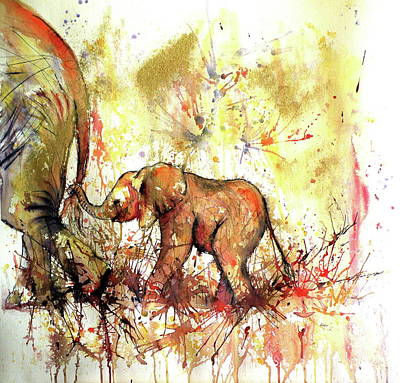 Mother Elephant Painting - Guidelines by Kovacs Anna Brigitta