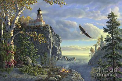 Split Rock Lighthouse Painting - Guiding Light by Kim Norlien