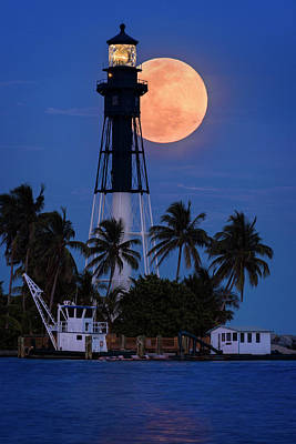 Photograph - Guiding Lights - Moon Over Hillsboro Lighthouse by Justin Kelefas