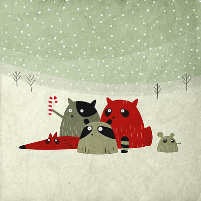 Pets Digital Art - Guilty Dudes In The Snow by Fuzzorama