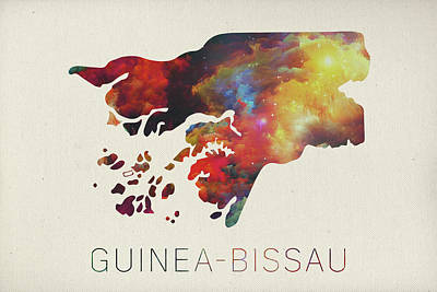 Guinea Wall Art - Mixed Media - Guinea Bissau Watercolor Map by Design Turnpike