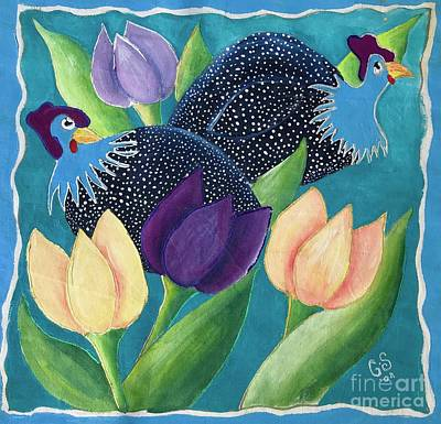 Painting - Guinea Fowl And Flowers by Caroline Street